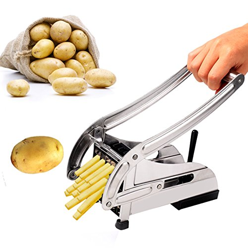 Homdox Stainless Steel 2-blade French Fry Cutter Potato Slicer with Round Suction Base Bottom