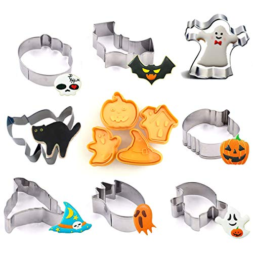 Halloween Cookie Cutter Set, 12 Pack Sandwich Cutters Cookie Molds for Kids Cookie Stampers