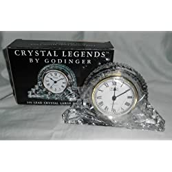 Godinger  Crystal Legends  Lead Crystal Large Mantle Clock 6 X 4