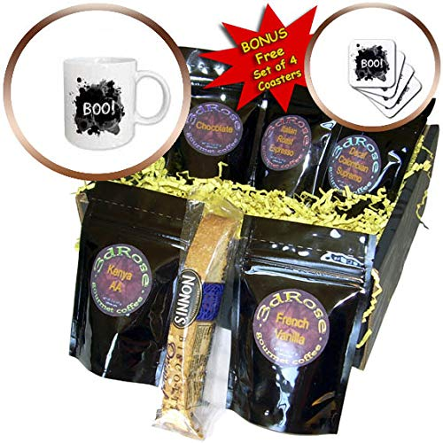 3dRose InspirationzStore - Occasions - Boo - scare message text Happy Halloween spooky dark black ink splats - Coffee Gift Basket (cgb_317311_1) -