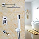 Rozin Chrome 3-way Mixer 10 Inch Rainfall Shower Set Tub Spout Tap + Handheld Spray