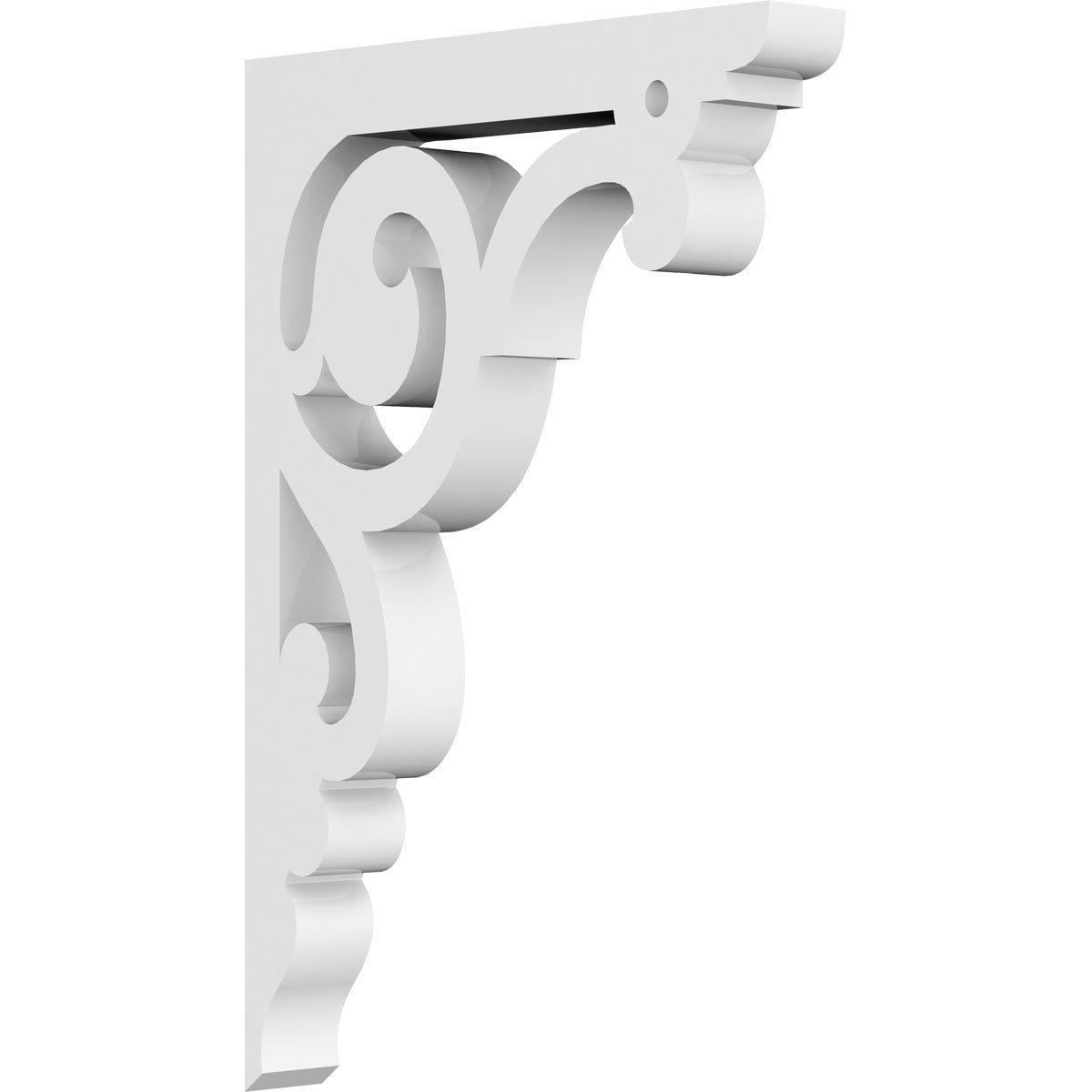 Ekena Millwork BKTP01X04X06HU PVC Bracket, 5/8'' W X 4'' D X 6'' H, White