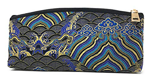 (Value Arts Black Zippered Soft Eyeglass Case Pouch, Vaco Chic Chinese Silk, 7.25 Inches Long )