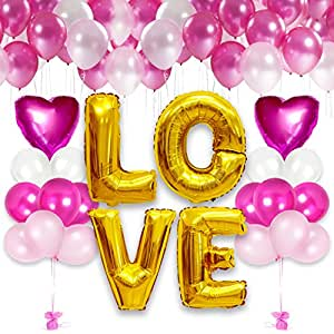 Happy Valentine's Day LOVE Balloons Bouquet Party Decorations Kit (Pink)