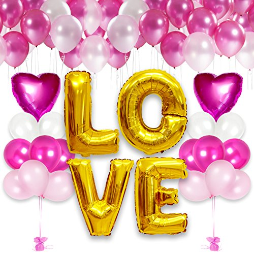 Happy Valentine's Day Balloons Bouquet Decorations in Metallic Magenta Pink Latex Balloon and Heart Shaped Mylar Heart Shaped Mylar Love Balloon for Arch Column Stand School Wedding Birthday ()