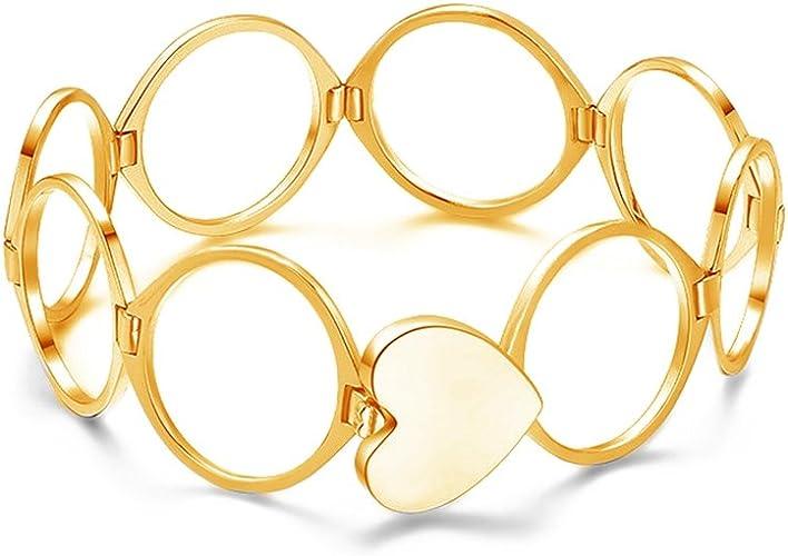 Tono Plata Diamante Corazón Link pulsera brazalete CZ Cristal Boda Diseño Damas