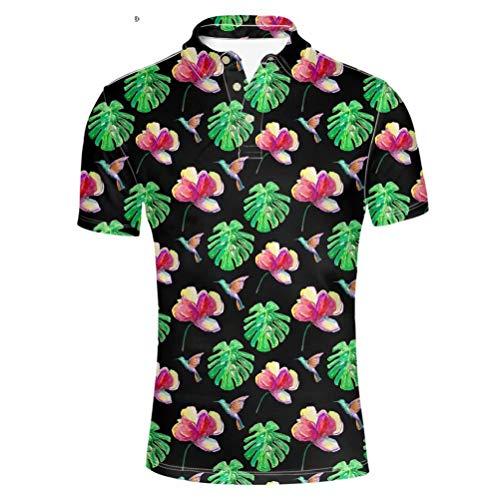 Pensura Mens Polo Shirt Aloha Hawaiian Shirt Floral Printing Short Sleeve Shirt