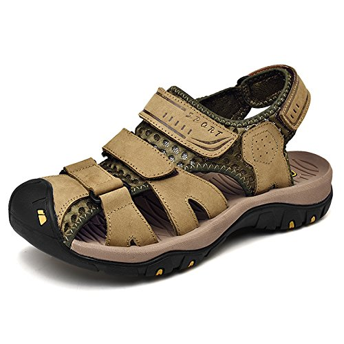 Men's Summer Sports Sandals Leather Closed-Toe Sandals Outdoor Footwear Walking Hiking Trekking Shoes Khaki