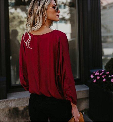 Manches Chemise Rouge lgre de Hauts Chemise Chemise Travail Chemise boutonne Longues Ample Femme Coton en TqEw67zxF