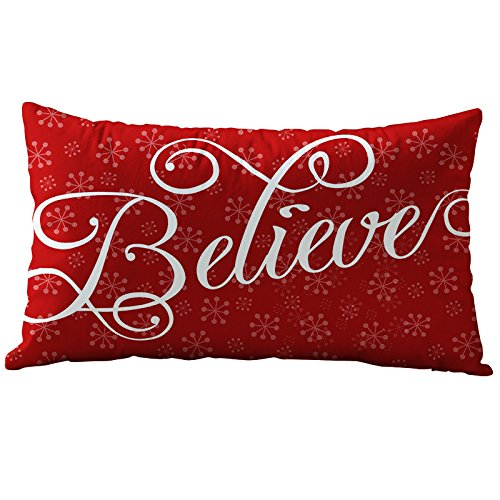 Hangood Cotton Flannel Lumbar Pillowcase Throw Pillow Case Cushion Covers Cover Christmas Snowflake Believe 30cm x 50cm