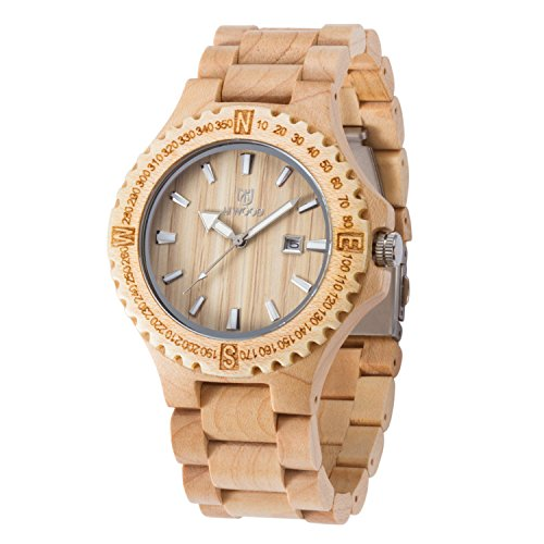 Wood Wrist Watch for Men,UWOOD Nature Handmade Unique Classical Design Men Big Size Japan Movement Maple Wooden Watches with Luminous Pointers,Watch - Valantines Date Day