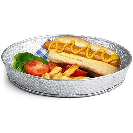 Bandeja redonda de acero galvanizado Diner 21,5 cm – 12 unidades | Diner cestas