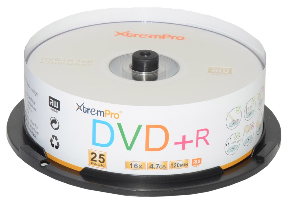XtremPro DVD+R 16X 4.7GB 120Min Recordable DVD 25 Pack Blank Discs in Spindle - 11025 by XtremPro