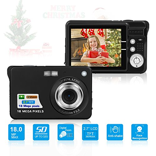 10 Digital Camera (HD Mini Digital Camera with 2.7 Inch TFT LCD Display,Kids Childrens Point and Shoot Digital Video Cameras Black--Sports,Travel,Holiday,Birthday Present)