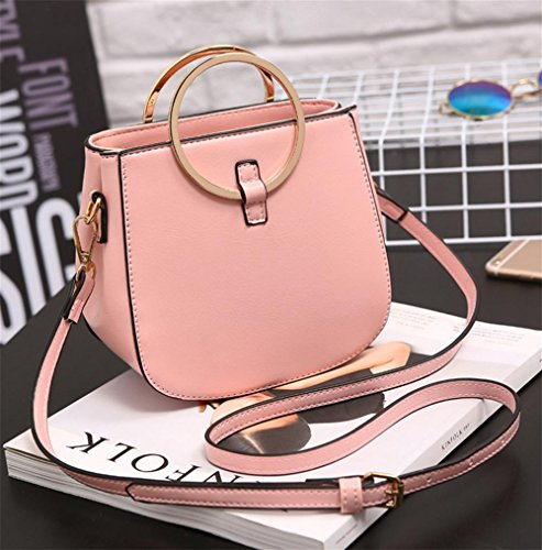Handbag Yanx Tote Shoulder Pu Ladies 16 5cm 9 Fashion Pink Madam Bag 17 qSBBxt4