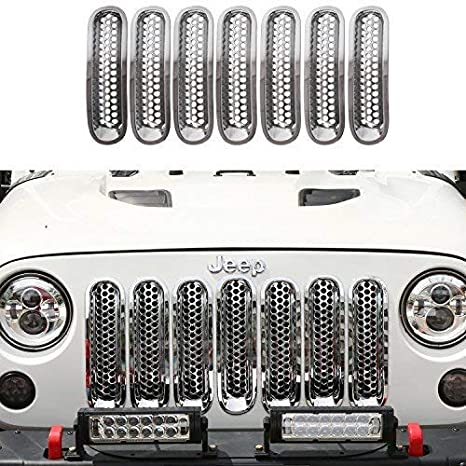 RT-TCZ Chrome Clip-in Front Mesh Grille Inserts for Jeep Wrangler JK JKU Unlimited Rubicon Sahara 2007-2015