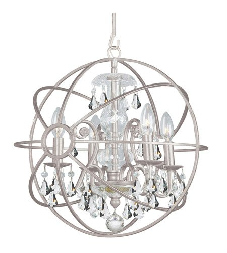 - Mini Chandeliers 4 Light with Olde Silver Clear Swarovski Strass Wrought Iron 17 inch 240 Watts - World of Lighting