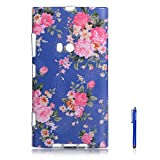 NOKIA 920 Case,Vfunn Premium TPU Gel Scratch Resistant Funny Cartoon Case Cover for NOKIA Lumia 920 N920 with 1 Screen Protector 1 Stylus Pen (N920 TPU Case) (Rose Blue)