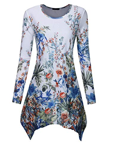 Floral Print Crewneck Top - Acloth Floral Long Tunic Tops for Women Casual Long Sleeve Floral Print Irregular Hem Asymmetrical Blouses AMD Tops Crewneck Boutique Clothing 2019 Trendy T-Shirt Office Wear Flower1 M