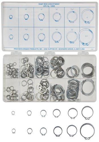 [해외]탄소 강 외부 고정 링 제품 (300 개), 아연 도금 마감, 인치, 케이스 포함/Carbon Steel External Retaining Ring Assortment (300 Pieces), Zinc Plated Finish, Inch, With Case
