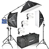 Emart Softbox Photography Lighting Kit, 2400W Continuous light for Photo Video Studio Shooting, 20'' x 28'' Softboxes, Boom Stand System