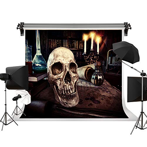 Kate 7x5ft/2.2x1.5m(W:2.2m H:1.5m) Halloween Brown Backdrop Dark Room Skeleton Candles Blood Papers Bloody Backgrounds Halloween Photography Photo Pros]()