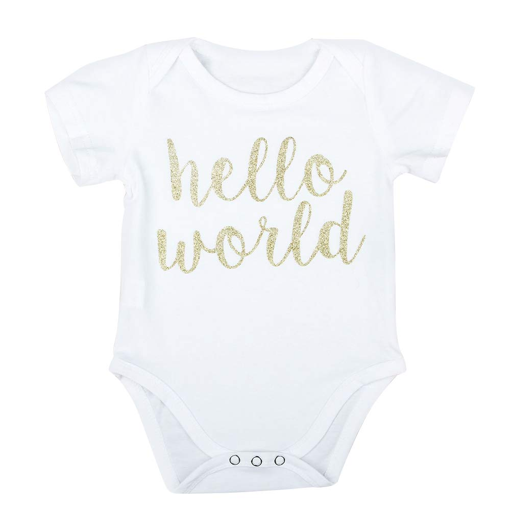 6-9M White 80cm dzsntsmgs Hello World Letter Short Sleeve Romper Ruffled Tulle Shorts Baby Girl Outfit