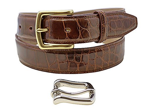 Size 38 Cognac Genuine Alligator Belts for Men - American Factory Direct - Gold & Silver Buckle Included – Gift Box - 1 ¼ inch Wide - Made in USA by Real Leather Creations Body FBA723