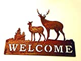 Cheap Welcome Sign Rusted Rustic Metal Deer Family 15″w X 11.5″h