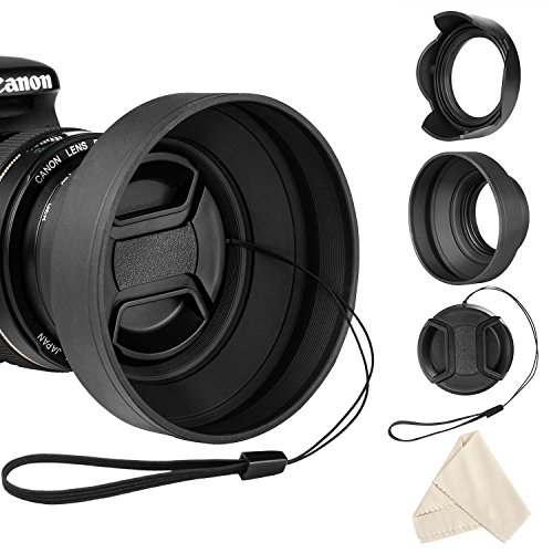 Veatree 58mm Lens Hood Set, Collapsible Rubber Lens Hood with Filter Thread + Reversible Tulip Flower Lens Hood + Center Pinch Lens Cap + Microfiber Lens Cleaning Cloth ()