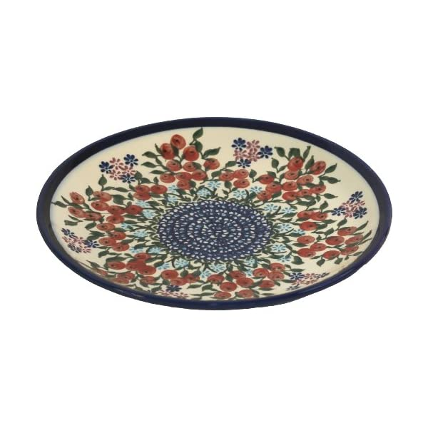 Polish Pottery Ceramika Boleslawiec 1102/282 Royal Blue Patterns Dessert Plate, 7-1/2 Inch, Red Berries and Daisies