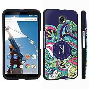 DuroCase ? Motorola Google Nexus 6 Hard Case Black - (Mint Flower Monogram N)