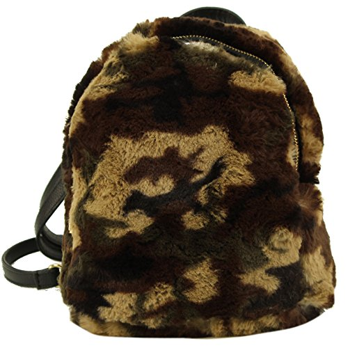 CC Faux Fur Furry Mini Backpack Daypack School Shoulder Bag Handbag Purse Camo