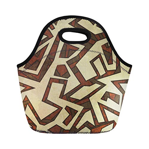 Semtomn Neoprene Lunch Tote Bag Pattern Ancient Effect Geometric Mexican Pueblo Southwest Swirl American Reusable Cooler Bags Insulated Thermal Picnic Handbag for Travel,School,Outdoors, Work