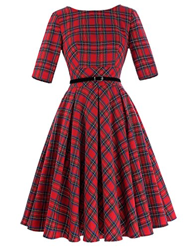 Belle-Poque-Vintage-Half-Sleeve-Tartan-Plaid-Hepburn-Swing-Dress-with-Belt-BP257