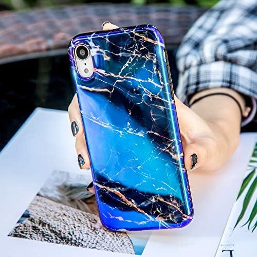 Herbests Kompatibel mit iPhone XS Max Hülle Marmor Weich Silikon Handyhülle Bling Glitzer Sparkle Glänzend Bunt Schutzhülle Crystal Ultradünn TPU Bumper Tasche Case,Schwarz Blau