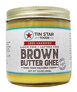 Tin Star Grassfed Brown Butter Ghee - 100% Grassfed - Gluten-Free - Whole30 - Non-GMO - Paleo - Made in USA - 13.5 oz (1 jar)