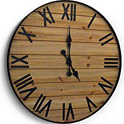 WallCharmers 24 inch Rustic Wall Clock | Handmade Large Clock | Real Wood Clock Beautiful Decorative Wall Clock Large |Oversized Wall Clock Large Wall Clock Wooden Clock Rustic Clock Large Wall Clocks
