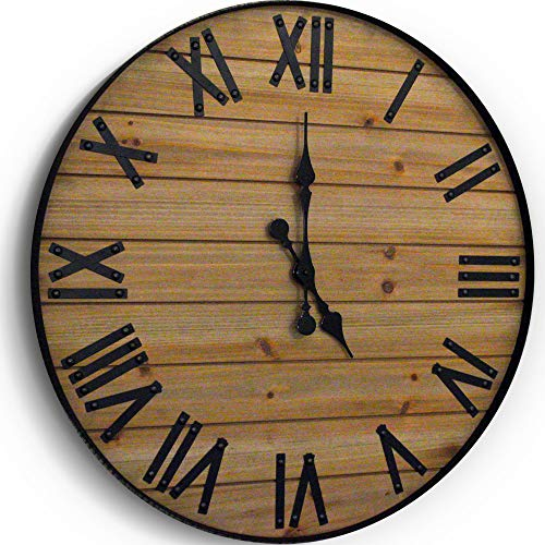 24 inch Rustic Wall Clock | Handmade Large Clock | Real Wood Clock, Beautiful Decorative Wall Clock Large | Oversized… 1