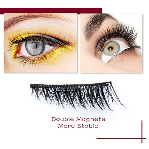 New Magnetic False Eyelashes , Ultra Thin 3D Fiber Reusable Best Fake Lashes Extension for Natural and Reusable Fake Eyelashes Natural Look, 1 Pairs (4 Pieces)Handmade (3D effects)
