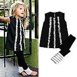 Outfits,SMTSMT Baby Girls Long T-shirt Dress Tops Ruffles Pant Legging Clothes Set (5T, Black)