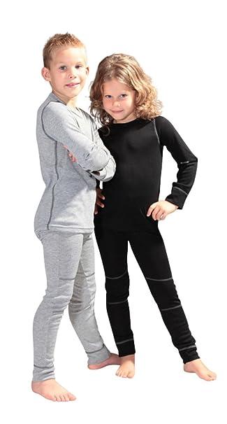 check out 02e01 e2f26 icefeld® - atmungsaktives Thermo-Unterwäsche Set für Kinder - warme Wäsche  aus langärmligem Oberteil + Langer Unterhose (ÖkoTex100)