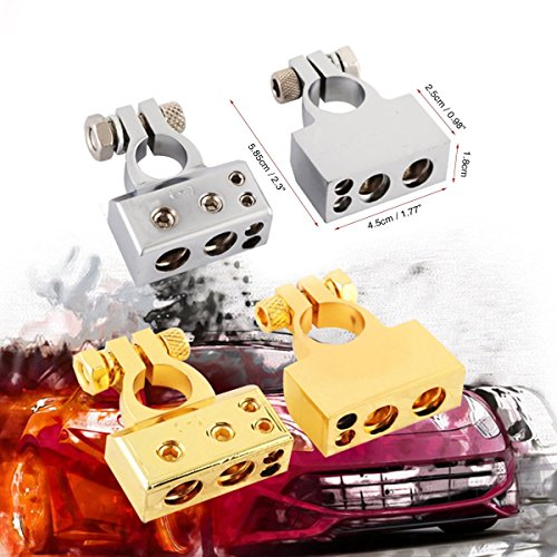 Audew 2 Pcs 4/8 Awg Positive Negative Battery Terminal Platinum Gold Auto Car