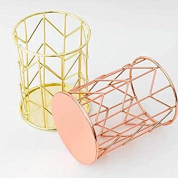 porta pennelli da trucco decorazione da scrivania per ragazze 8x10.5cm Gold Minsa 1 portapenne da scrivania in metallo cavo