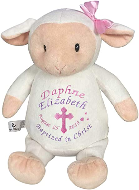 Hidden Zipper Monogram Epicfitters Machine Embroidery Blank Stuffed Animal for Vinyl 2 Removable Pods Sublimation White Lamb Stuffie 13 Inches