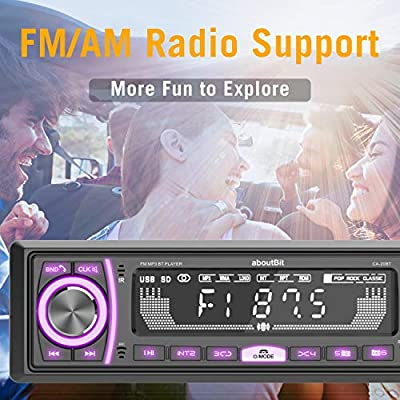 Mechless Multimedia Car Stereo - aboutBit Single Din LCD Car Radio,Bluetooth Audio Calling,Built-in Microphone,FLAC/MP3,RGB Light,Aux-in,AM FM Radio Receiver: Car Electronics