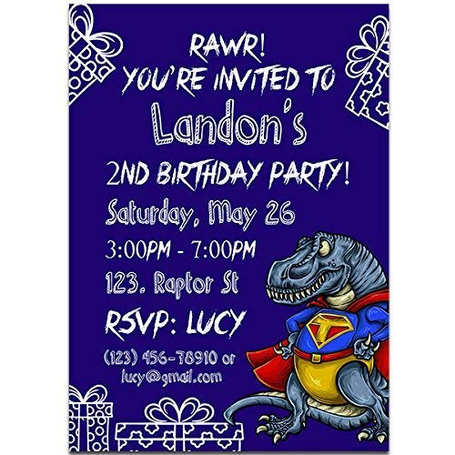 Image Unavailable Not Available For Color Super T REX Dinosaur Boy Birthday Party Invitations