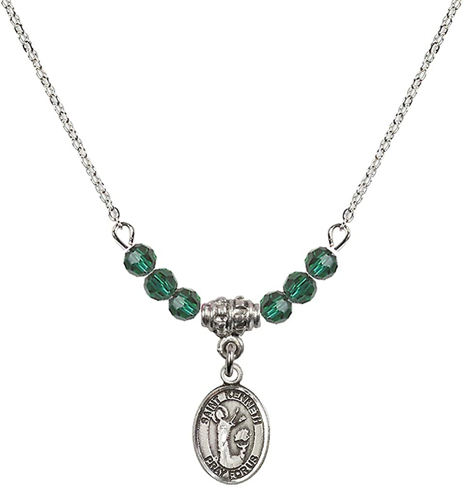 18-Inch Rhodium Plated Necklace with 4mm Emerald Birthstone Beads and Sterling Silver Saint Kenneth Charm.