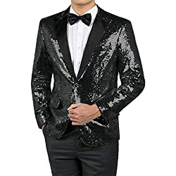 Men's Shiny Sequins Dress Suit Jacket