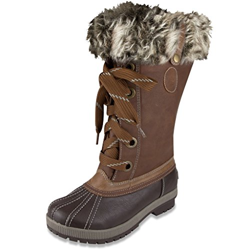 London Fog Womens Melton Cold Weather Waterproof Snow Boot Cognac 8 M US